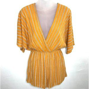 Emory Park Yellow Striped Romper Size Small